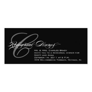 "Black Rehearsal Dinner Invitation Monogram C 4"" X 9.25"" Invitation Card"