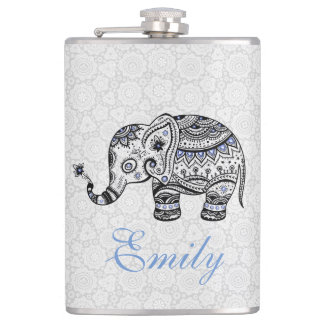 Black Retro Flowers & Elephant Blue Diamonds Hip Flask