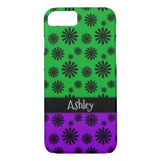 Black Retro Flowers w/ Green & Purple Personalized iPhone 8/7 Case
