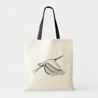 Black Retro Flying Duck Line Drawing Canvas Bags