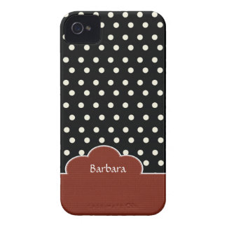 Black Retro Polka Dots Pattern Blackberry Bold iPhone 4 Covers