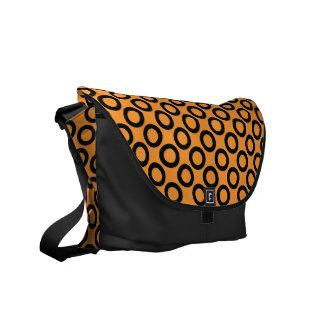 Black Retro Rings on Orange Messenger Bag