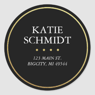 Black Return Address Label with Faux Gold Foil Round Sticker