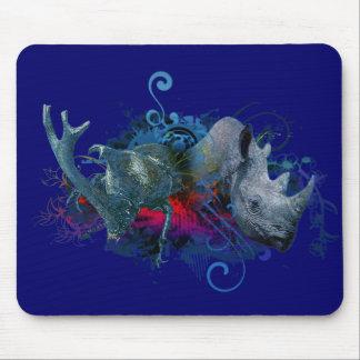black rhino and rhino beetle mouse pad