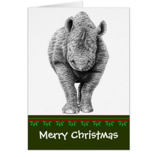 Black Rhino Christmas Card