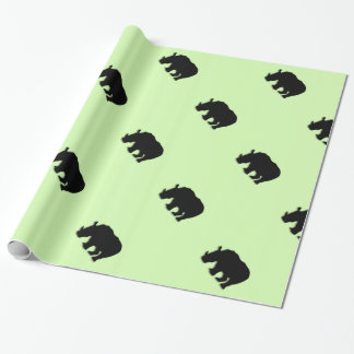 Black Rhino Green Wrapping Paper