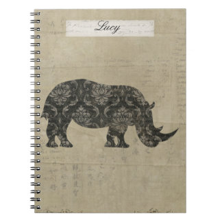 Black Rhino Silhouette Personalized Notebook