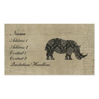 Black Rhinoceroses Silhouette Business Card/Tags