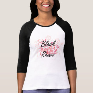 Black Rhinos with flowers background T-Shirt