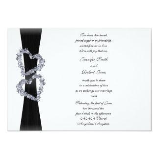 Black Ribbon and Diamond Hearts Wedding Invitation