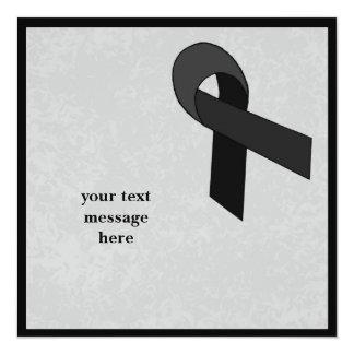 black ribbon event 13 cm x 13 cm square invitation card