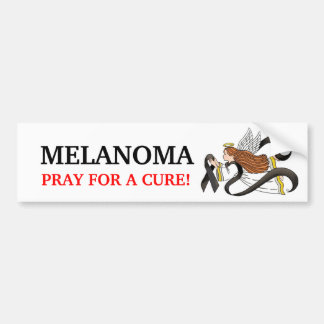"""Black Ribbon"" Melanoma Awareness Angel Bumper Sticker"