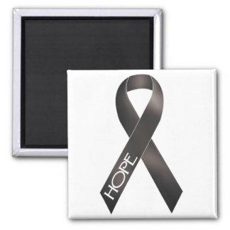 Black Ribbon Square Magnet