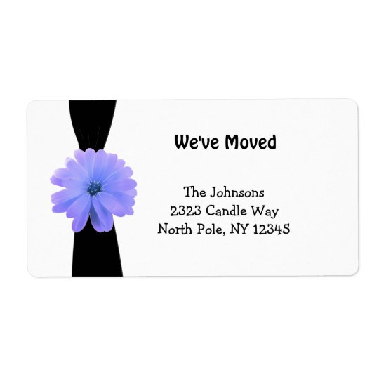 Black Ribbon with Purple Flower New Address Shipping Label