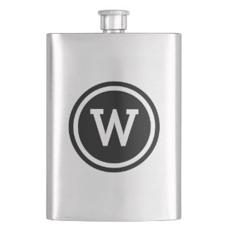 Black Ringed Circle Monogram Flasks