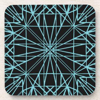 Black & Robin Egg Blue Geometric Symmetry Coaster