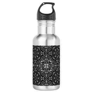 Black Rococo Pattern Flourish 532 Ml Water Bottle