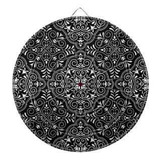 Black Rococo Pattern Flourish Dartboard
