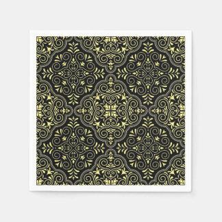 Black Rococo Pattern Flourish Disposable Serviette