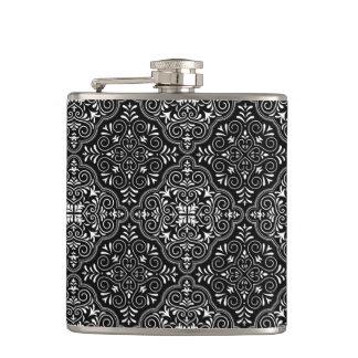 Black Rococo Pattern Flourish Hip Flask