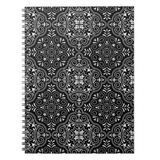 Black Rococo Pattern Flourish Notebook