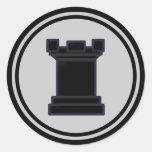 Black Rook Chess Piece Round Sticker
