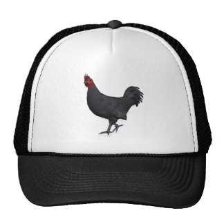 Black Rooster Mesh Hats