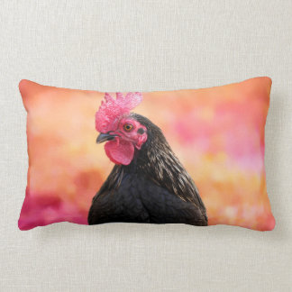 Black Rooster Lumbar Cushion