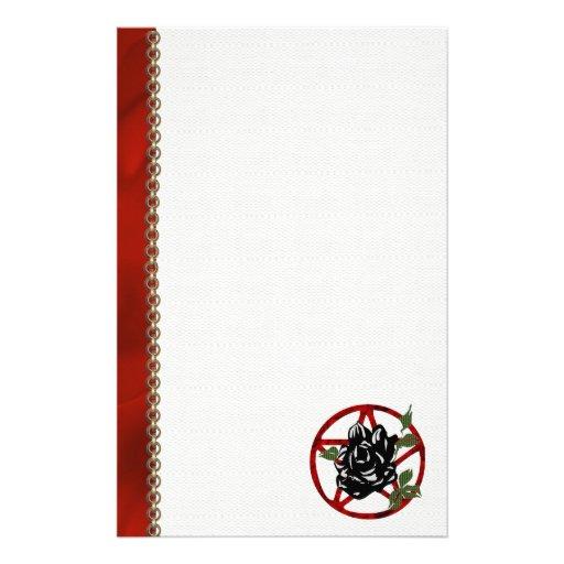 Black Rose and Pentagram Customized Stationery