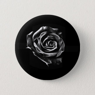 Black rose clasic design 6 cm round badge