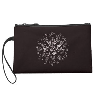 Black rose design motif clutch wristlets
