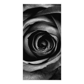 Black Rose Flower Floral Decorative Vintage Personalised Photo Card