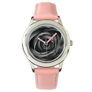 Black Rose Flower Floral Decorative Vintage Watch