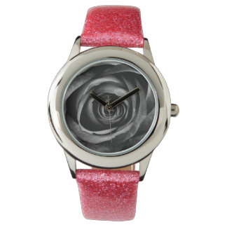 Black Rose Flower Floral Decorative Vintage Wrist Watch