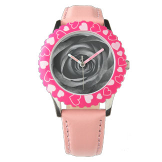 Black Rose Flower Floral Decorative Vintage Wristwatch
