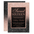 Black rose gold glitter elegant chic Sweet 16 Card