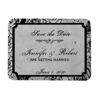Black Rose Gothic Frame Save the Date Rectangular Photo Magnet