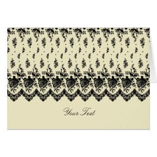 Black Rose Lace A7 Greeting Card (Cream)