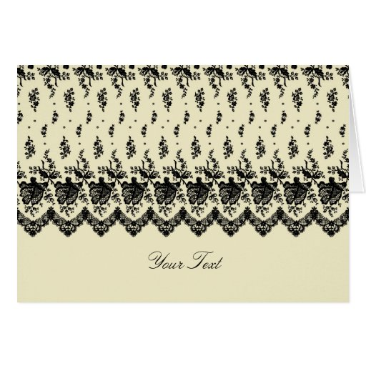 Black Rose Lace A7 Greeting Card (Cream)