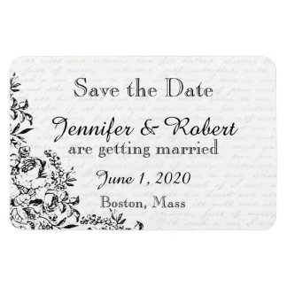Black Rose Love Letter Wedding Save the Date Rectangular Photo Magnet