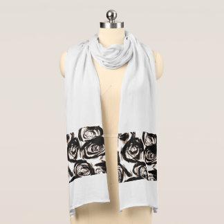 Black Rose Motif show on White Scarf