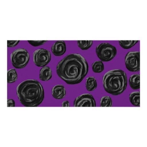 Black Rose Pattern on Dark Purple. Custom Photo Card