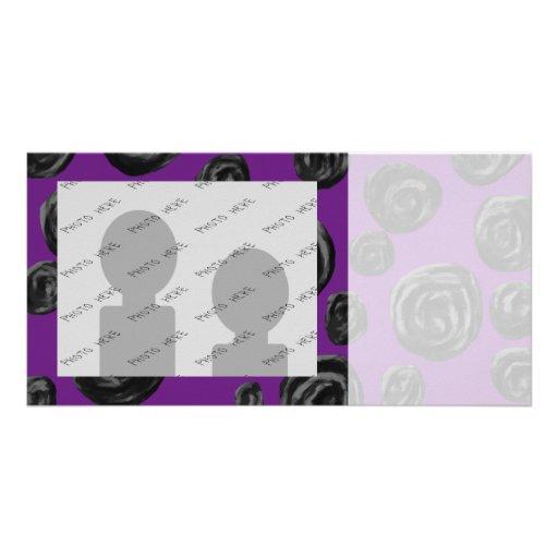Black Rose Pattern on Dark Purple. Photo Card