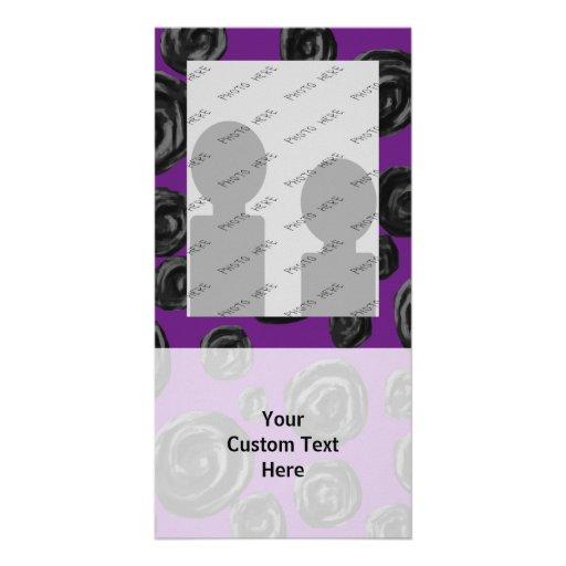 Black Rose Pattern on Dark Purple. Photo Cards