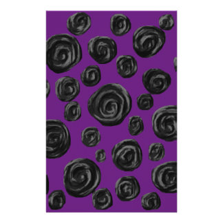 Black Rose Pattern on Dark Purple. Stationery