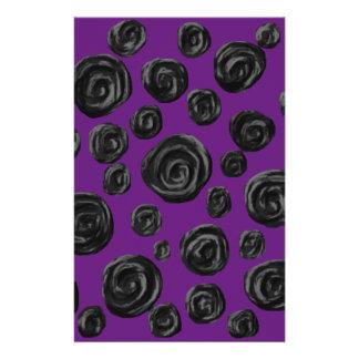 Black Rose Pattern on Dark Purple. Stationery Paper