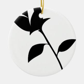 Black Rose Round Ceramic Decoration