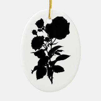 Black Rose Silhouette Ceramic Ornament