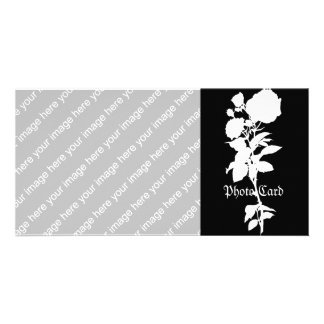 Black Rose Silhouette Personalised Photo Card