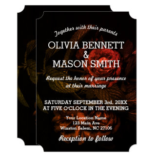 Black Rose textured Wedding Card